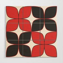 Mid-Century Modern Art - Flower Pattern Black Red Wood Wall Art