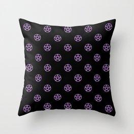 Purple Pentacle Pattern on Black Throw Pillow