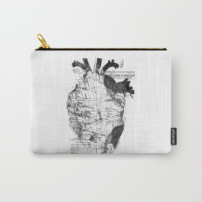 Heart Wanderlust Black and White Carry-All Pouch