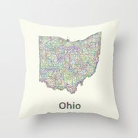 ohio Throw Pillows featuring Ohio map by David Zydd