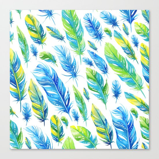 Feathers Pattern 03 Canvas Print