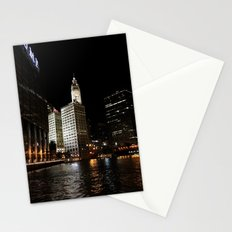 Wrigley Building and Chicago River at Night Color Photo Stationery Cards