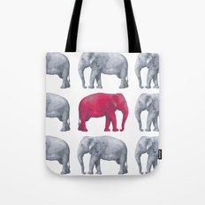 Elephants Red II Tote Bag
