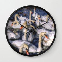 Swans Of Summer Wall Clock