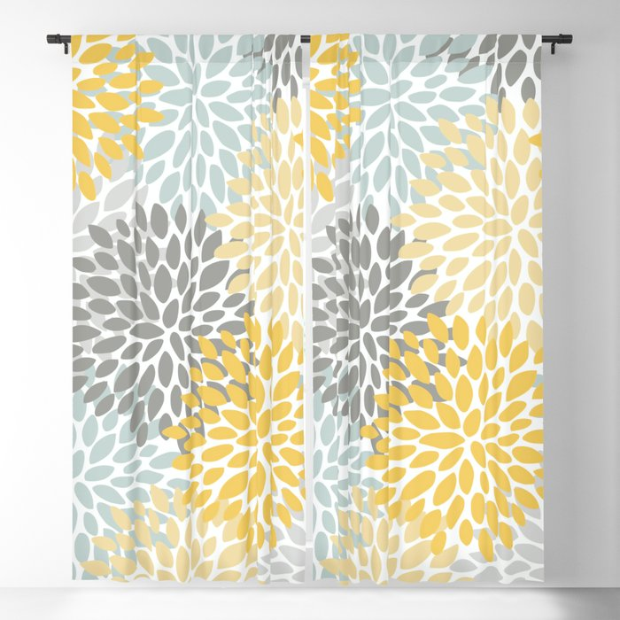 Fl Pattern Yellow Pale Aqua Blue And Gray Blackout Curtain By Meganmorrisart