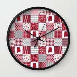 Alabama university crimson tide quilt pattern college sports alumni gifts Wall Clock