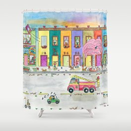 Happy Town VI Shower Curtain