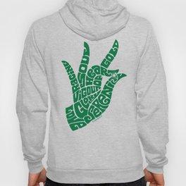 Heart Hand Emerald Green Hoody