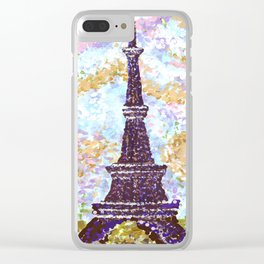 Eiffel Tower Pointillism by Kristie Hubler Clear iPhone Case