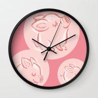 pig Wall Clocks featuring Pig by Toru Sanogawa