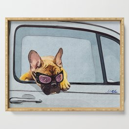 Fun Frenchie Rider Serving Tray