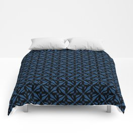 Classic Blue Brushstrokes on Black Pattern Comforters