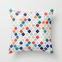 spice Throw Pillows featuring Sea & Spice Moroccan Pattern by micklyn