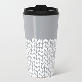 Half Knit Grey Metal Travel Mug