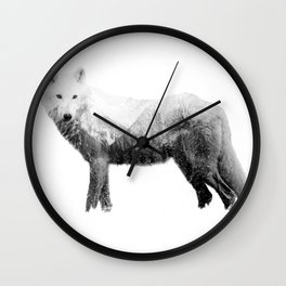 The wolf in the forest Wall Clock