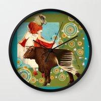 bull Wall Clocks featuring BULL**** by Julia Lillard Art