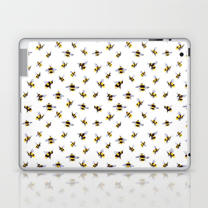 Bumblee Bee Watercolor Pattern Laptop & iPad Skin