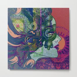 She Moves in Mysterious Haze Metal Print