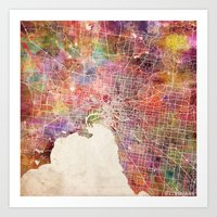 melbourne Art Prints featuring Melbourne  by MapMapMaps.Watercolors