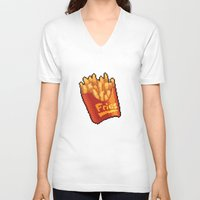 french fries V-neck T-shirts featuring Pixel Fries by TheSkywaker