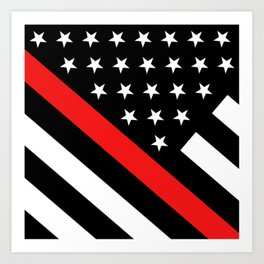 Firefighter: Black Flag & Red Line Art Print