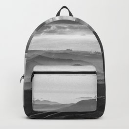 Foggy sunset. Mountains. Square. BW Backpack