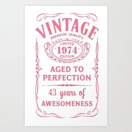 Pink-Vintage-Limited-1974-Edition---43rd-Birthday-Gift Art Print