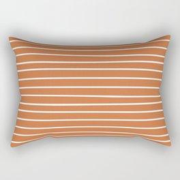 Geometric, Line Art, Colorful Stripes, Orange and White Rectangular Pillow
