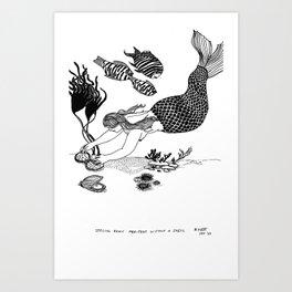 Mermaid Reading Runes Art Print