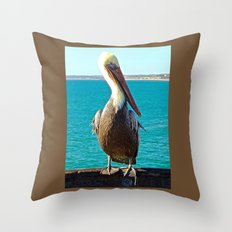 Portrait of a Perky Pelican Throw Pillow