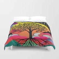 tree of life Duvet Covers featuring tree by mark ashkenazi