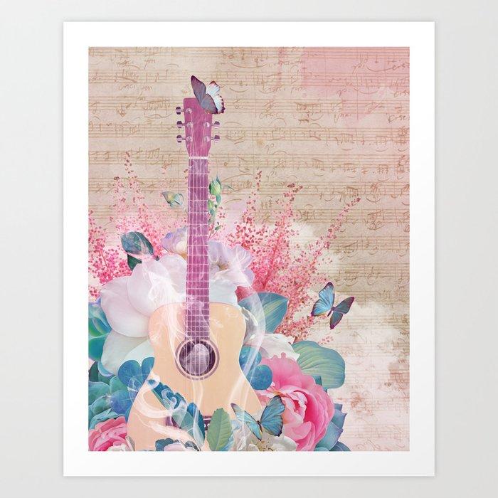 Floral Guitar Art Print