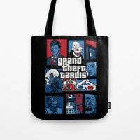 gta Tote Bags featuring Doctor Who and GTA - Nerd Mix by MarcoMellark