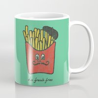 french fries Mugs featuring French Fries by Picomodi