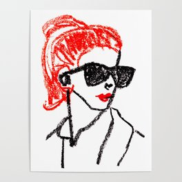sunglasses and red hair Poster