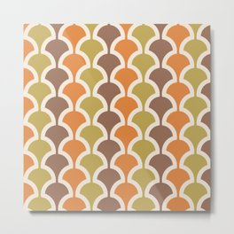 Classic Fan or Scallop Pattern 414 Orange Green and Brown Metal Print
