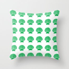 Green Seashell Throw Pillow