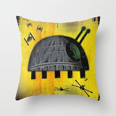 Death Star Bug – Yellow background Throw Pillow