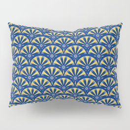 Art Deco Fan in blue and gold Pillow Sham