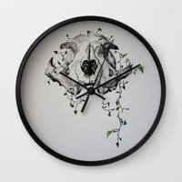animal skull Wall Clocks featuring Animal Skull With Vines by Emilee's Fine Art