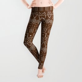 Mudcloth Style 1 in Brown Leggings