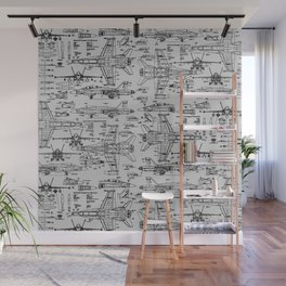 F-18 Blueprints // Light Grey Wall Mural