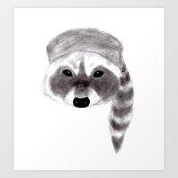 racoon Art Prints featuring Racoon by MichaelJenningsDoodleBoy