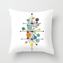 Atomic Age Nuclear Abstract Motif — Mid Century Modern Pattern Throw Pillow