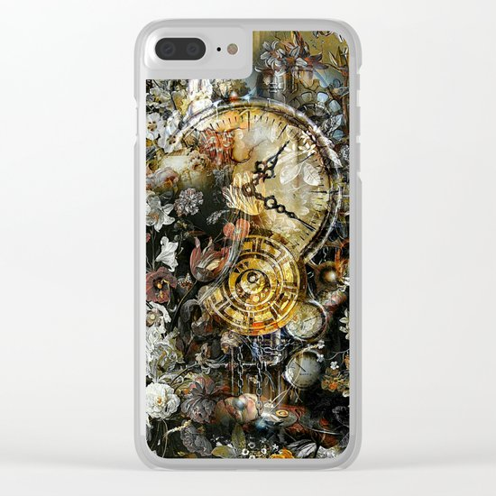 Vintage Steampunk Floral Clear iPhone Case