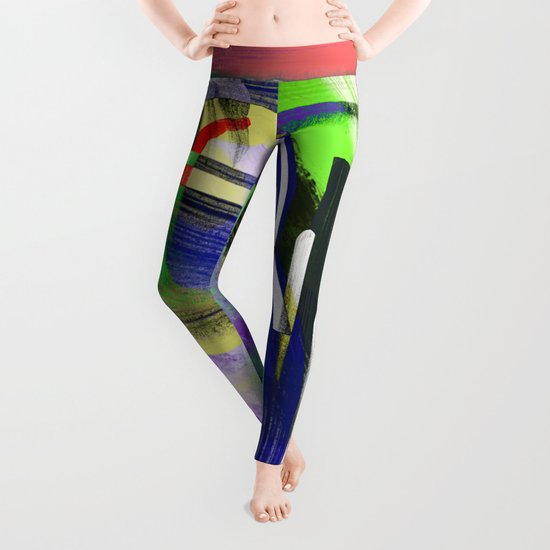 Try To Make Sense Of It All - Random, geometric, eclectic, abstract, colourful art Leggings