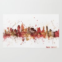 san diego Area & Throw Rugs featuring San Diego California Skyline by artPause
