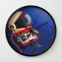 spaceman Wall Clocks featuring Spaceman by Sally Darby Illustration