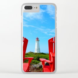 Lighthouse and chairs in Red White and Blue Clear iPhone Case