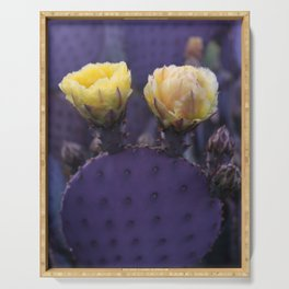 Cactus Flower Series: Two Yellow Blooms on Purple Cacti Serving Tray